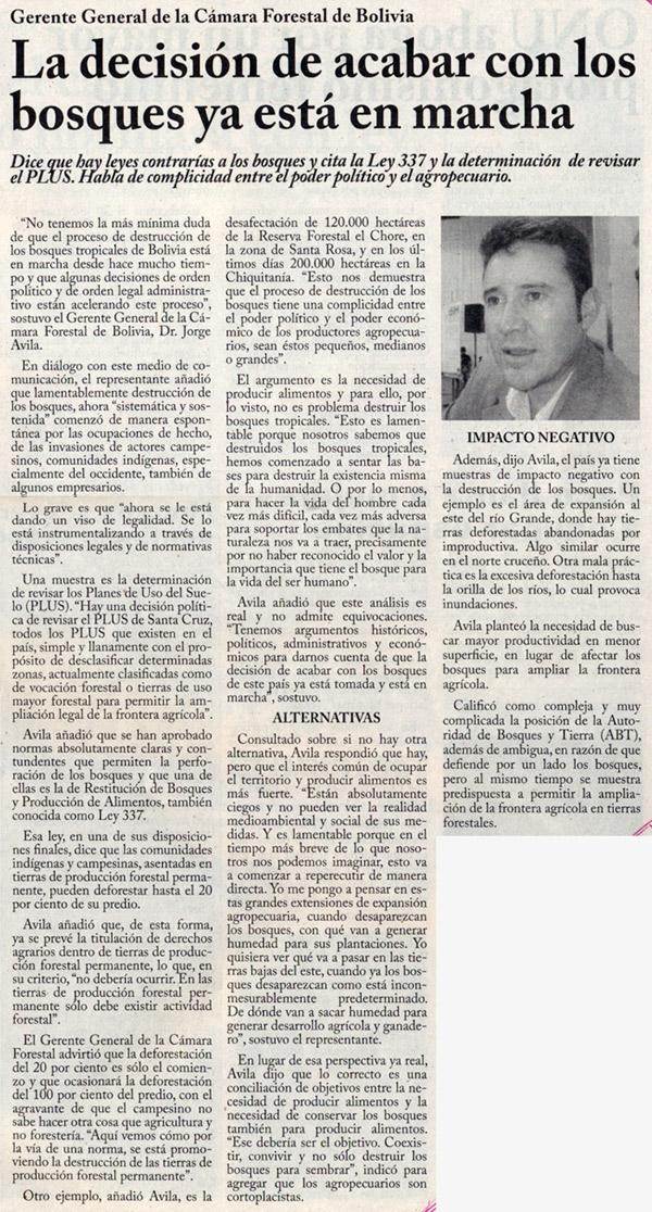 Periodico El Progreso del Gran Valle, entrevista a Jorge Avila, Gerente General de la Cámara Forestal de Bolivia