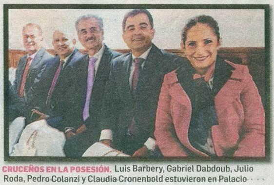 Cruceños en la posesion: Luis Barbery, Gabriel Dabdoub, Julio Roda, Pedro Colanzi y Gabriela Cronenbold