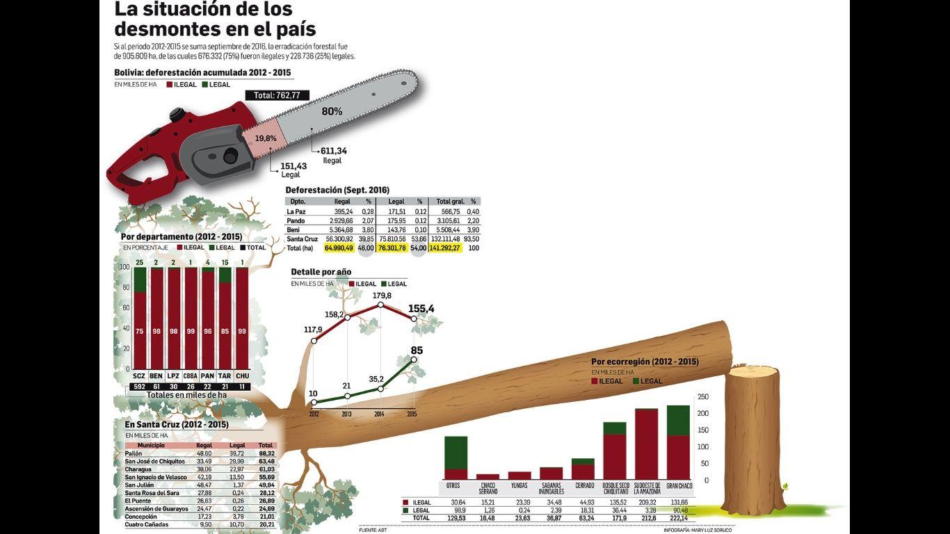 A septiembre de 2016 se deforestaron 141.292 hectáreas de las cuales 64.990 fueron ilegales y 76.301 legales. Entre 2012 y 2015 se deforestaron 905.069 hectáreas. El Gran Chaco, el más dañado
