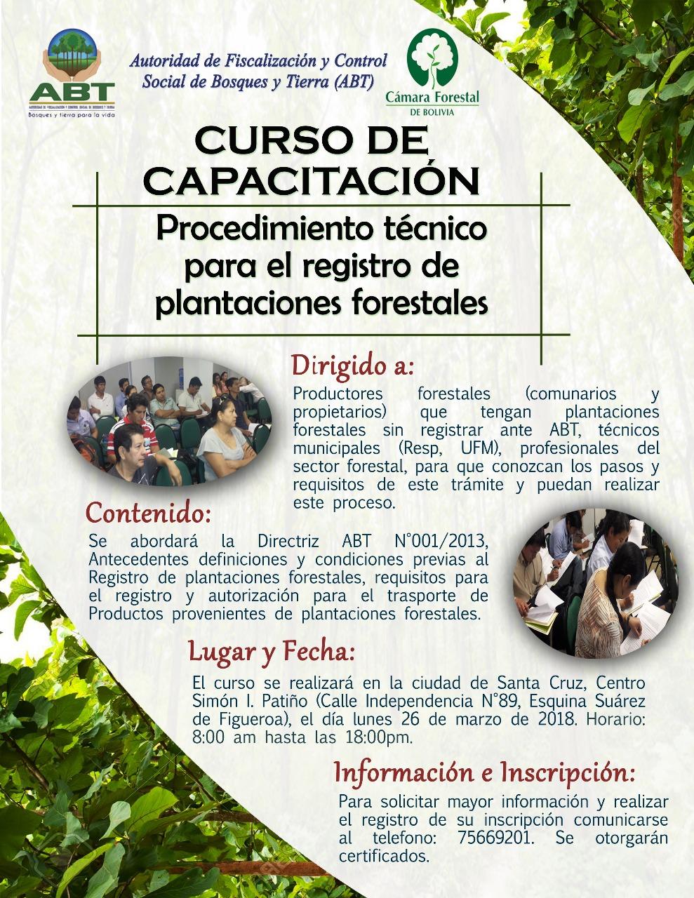"""Curso de Capacitación: """"Procedimientos técnicos para el Registro de Plantaciones Forestales"""""""