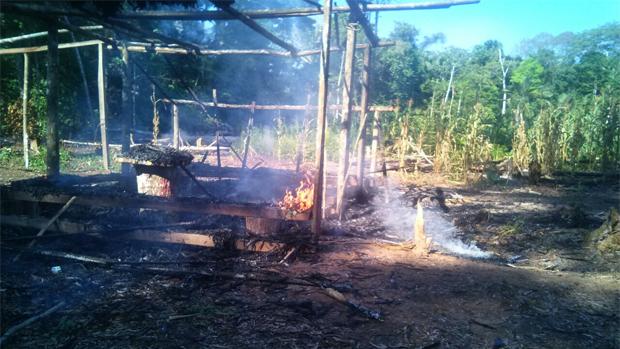 Colonos queman casas de indígenas tacanas para copar tierras forestales. Así quedaron algunas casas de los tacanas. Fotos/Etaca tv