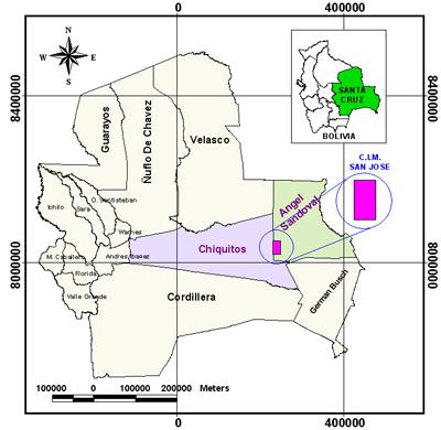 Mapa de la Concesion Forestal San Jose SA