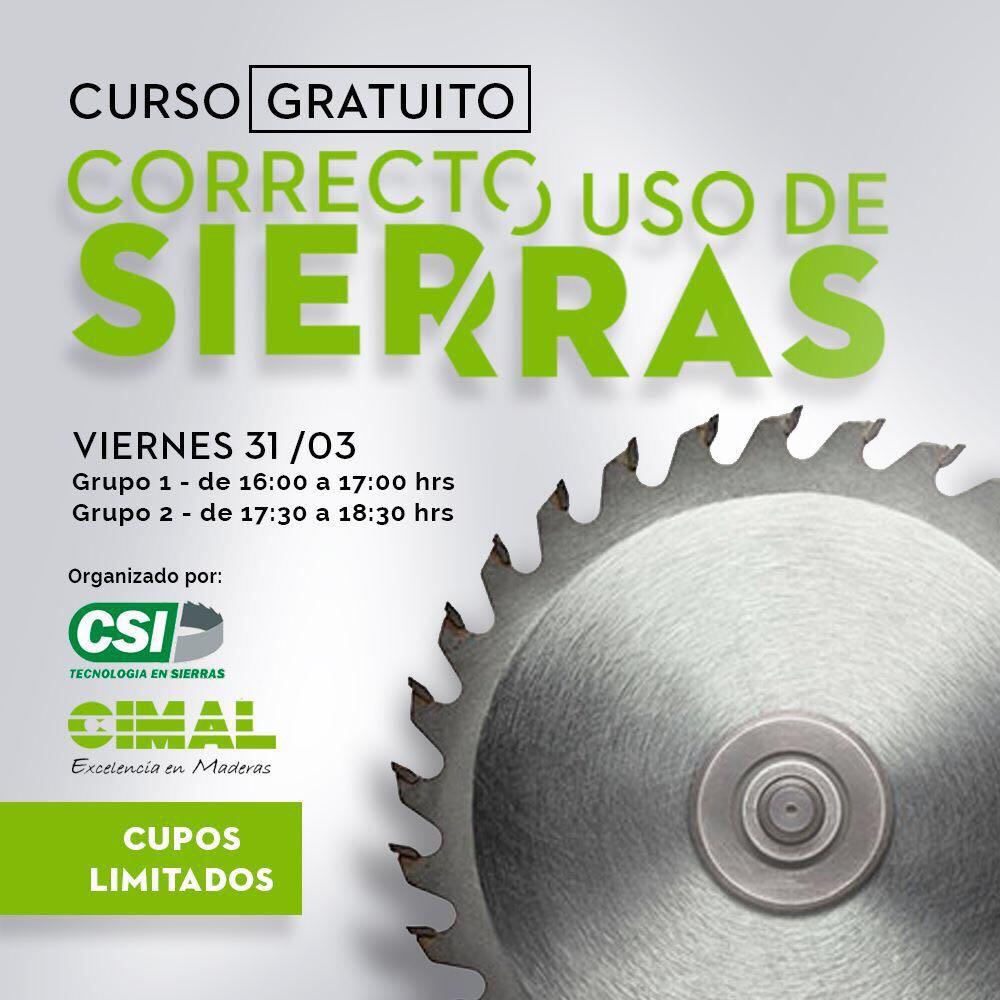 """El CSI """"Tecnología en Sierras"""" y CIMAL está organizando el curso GRATUITO en el Correcto Uso de Sierras Apresúrate a inscribirte"""