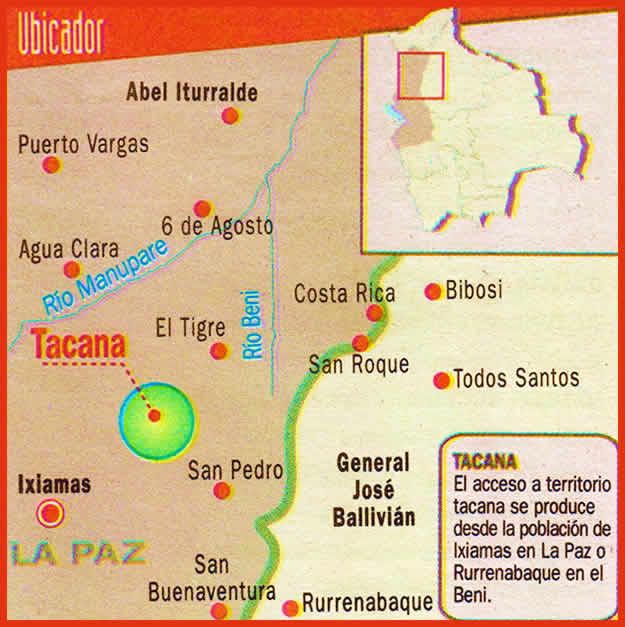 Mapa: Tacana, Ixiamas, Iturralde, Ubicación