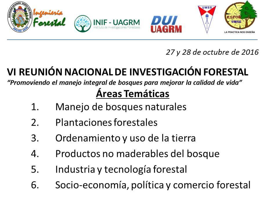 VI REUNIÓN NACIONAL DE INVESTIGACIÓN FORESTAL