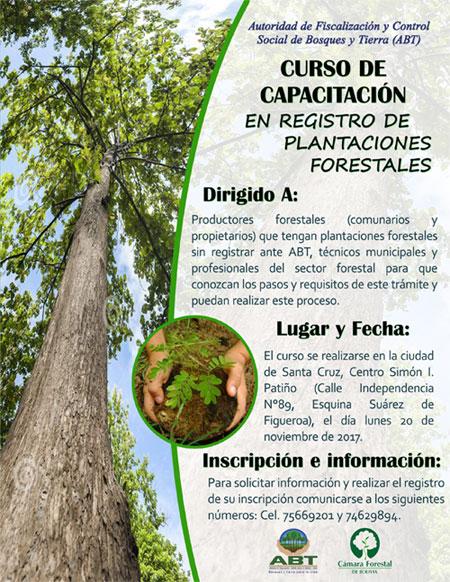 Dirigido a: Productores forestales (comuniario y propietarios) que tengan plantaciones forestales sin registrar en la ABT, técnicos municipales y profeciones del sector forestal para que conozcan los pasos y requisitos de este trámite y puedan realizar este proceso.