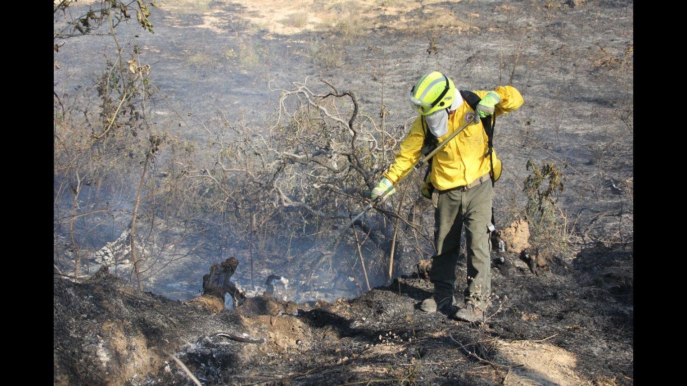 En Samaipata los bomberos luchan contra el fuego. El Deber