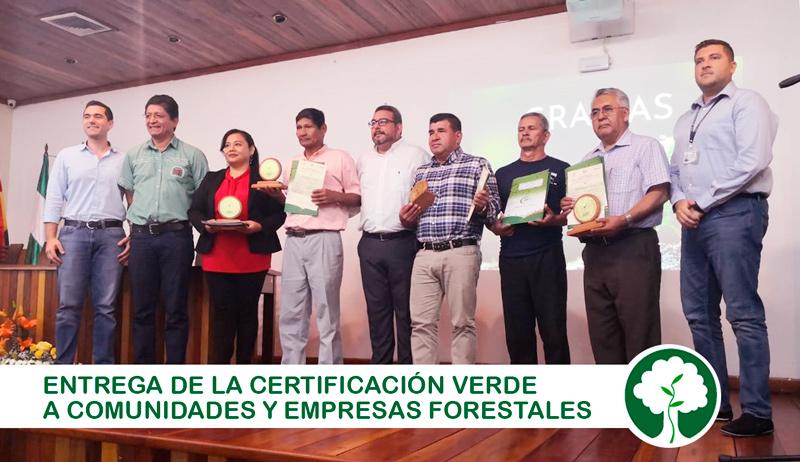 Empresas forestales y Comunidades reciben la Cerficacion Verde de la ABT. Foto: CFB