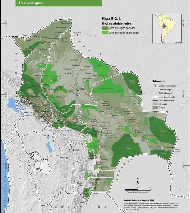 Mapa de Áreas Protegidas en Bolivia