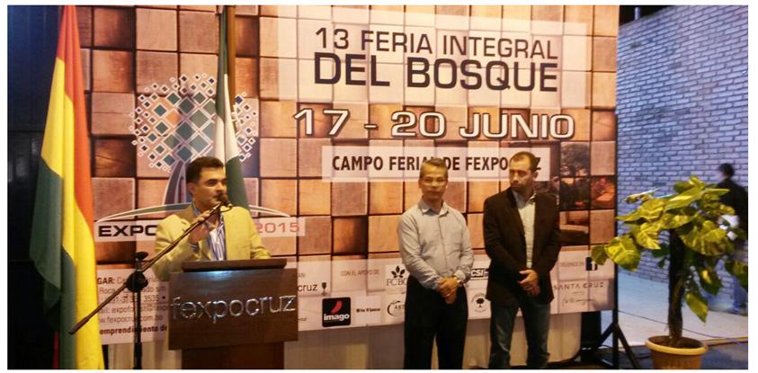 Expoforest 2015, inauguración, discurso de Pedro Colanzi, presidente Camara Forestal de Bolivia CFB. El Lic. Pedro Colanzi, presidente de la Cámara Forestal de Bolivia agradeció a la Fexpocruz por su apoyo en este importante evento, que por 13er año consecutivo se lleva a cabo en beneficio del sector forestal