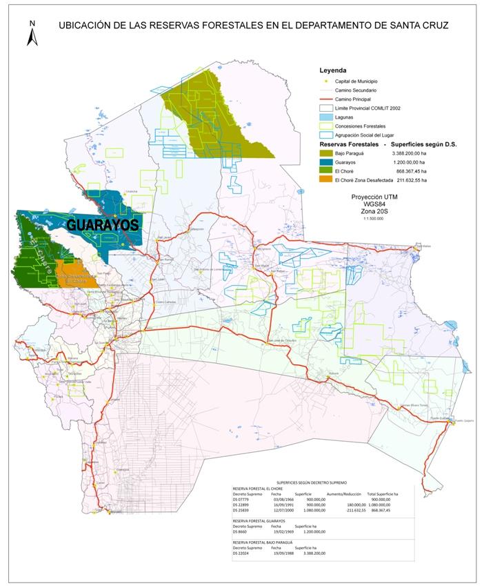 Ubicación de las reservas forestales en el departamento de Santa Cruz, Bolivia. El Chore, Guarayos y Bajo Paraguá