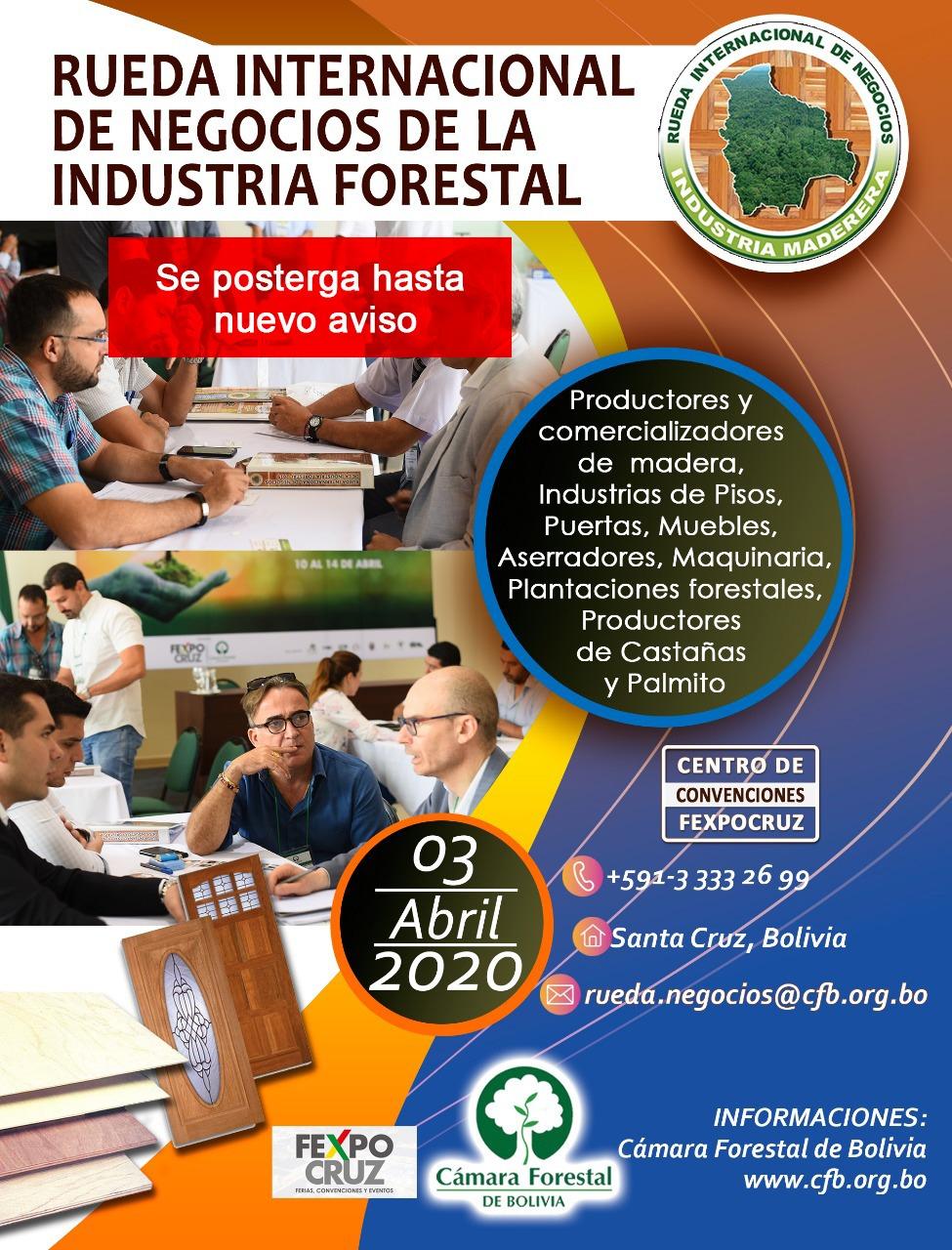 Cámara Forestal de Bolivia anuncia suspensión de Expoforest 2020 y Rueda Internacional de Negocios de la Industria Forestal